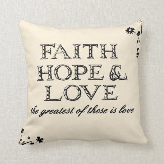 Faith, Hope & Love Parchment Throw Pillow