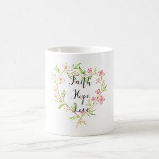 Faith Hope Love Pink Watercolor Floral Heart Coffee Mug