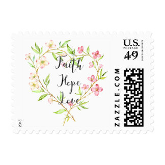 Faith Hope Love Pink Watercolor Floral Heart Postage