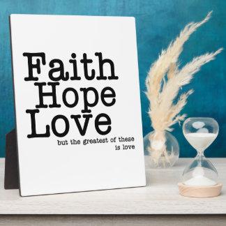 Faith Hope Love Plaque