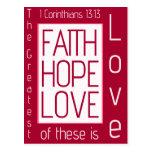 Faith, Hope, Love Post Card