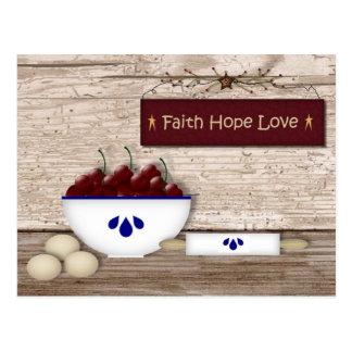 Faith Hope Love Recipe Card Postcard