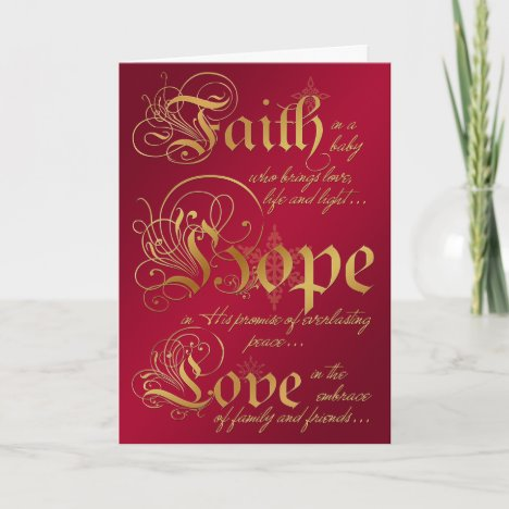 Faith, Hope, Love Red and Gold Christmas Card
