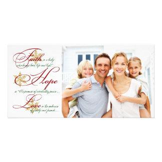 Faith, Hope, Love Red and Gold Christmas Photocard Card