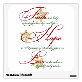 Faith, Hope, Love Red Gold Christmas Wall Decal