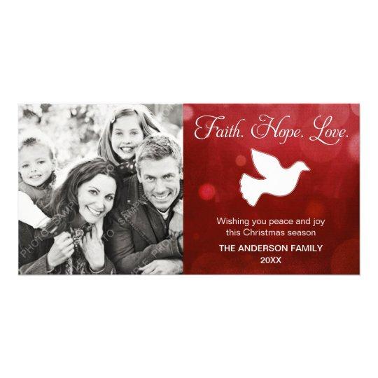 Faith Hope Love Religious Christmas Dove Red Card