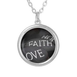 Faith, Hope, Love Round Pendant Necklace