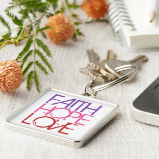 Faith.Hope.Love Silver-Colored Square Keychain