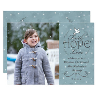 Faith Hope Love Snowflakes | Peace Dove Photo Card at Zazzle