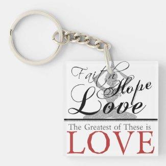 Faith hope love square acrylic key chain