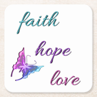 Faith Hope Love Square Paper Coaster