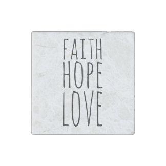 Faith Hope Love Stone Magnet