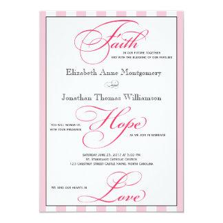 Faith Hope Love Striped Wedding Invitation