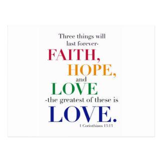 Faith, Hope, Love, the Greatest of these is Love. Postcard