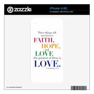 Faith Hope Love the Greatest of these is Love Skin For The iPhone 4S