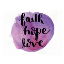 Faith Hope Love Watercolor Purple Postcard