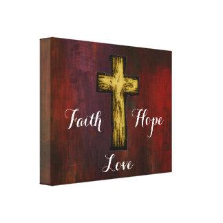 Faith Hope Love with Wooden Cross Canvas Print