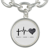 Faith, hope,  zebra heart love charm bracelet