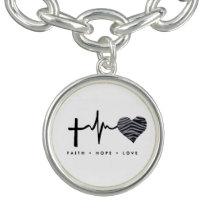 Faith, hope,  zebra heart love charm bracelet