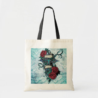Faith in Love cross and roses in tattoo style. Bags
