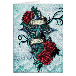 Faith in Love cross and roses in tattoo style. Card