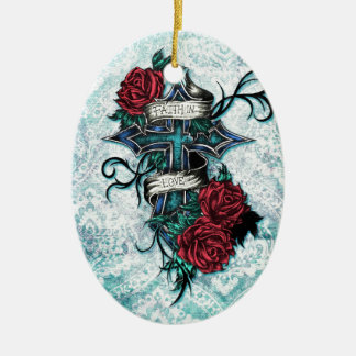 Faith in Love cross and roses in tattoo style. Ceramic Ornament