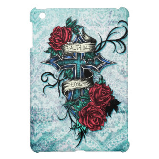 Faith in Love cross and roses in tattoo style. Cover For The iPad Mini