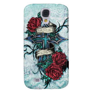 Faith in Love cross and roses in tattoo style. Galaxy S4 Cover