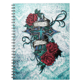 Faith in Love cross and roses in tattoo style. Notebook