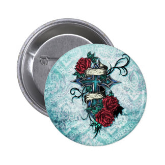 Faith in Love cross and roses in tattoo style. Pinback Button