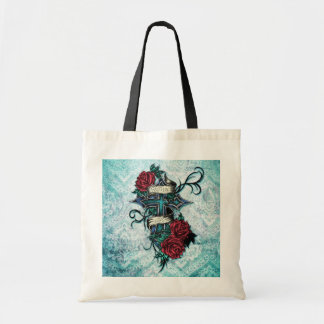 Faith in Love Roses and cross art on blue base Bags