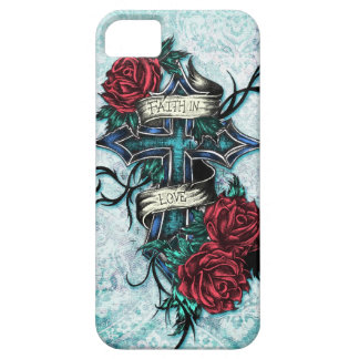 Faith in Love Roses and cross art on blue base iPhone 5 Cases