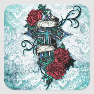 Faith in Love Roses and cross art on blue base Sticker