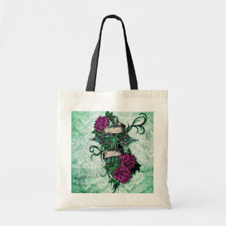 Faith in Love Roses and cross art on green base Bags