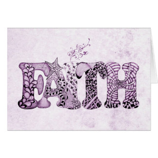 Faith in purple textured letters stationery note card