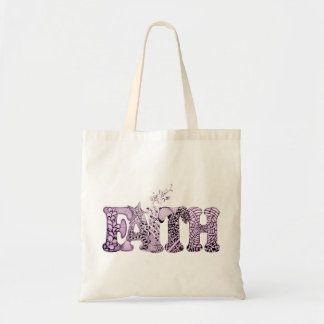 Faith in purple textured letters tote bag