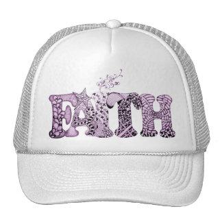 Faith in purple textured letters trucker hat