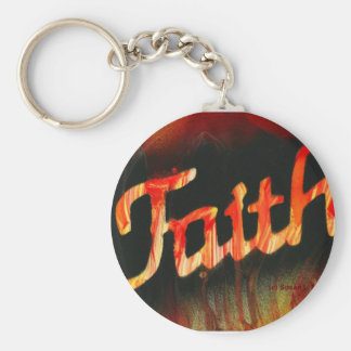 Faith in spray paint with black background & fire basic round button keychain