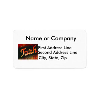 Faith in spray paint with black background & fire custom address label
