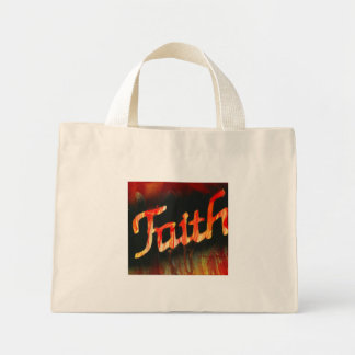 Faith in spray paint with black background & fire mini tote bag