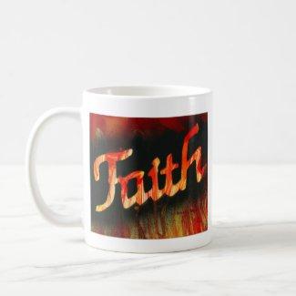 Faith in spray paint with black background & fire mug