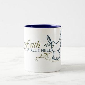 Faith is All I Need Two-Tone Coffee Mug
