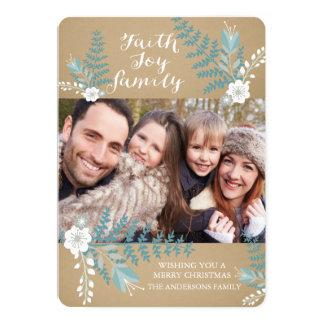 Faith Joy & Family Blue Floral Holiday Photo Card