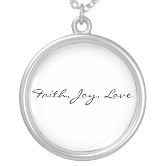 Faith, Joy, Love Silver Plated Necklace