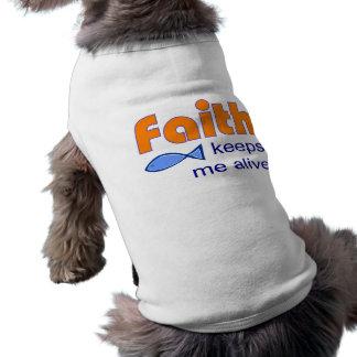 Faith keeps me alive Christian fish symbol Dog Tshirt