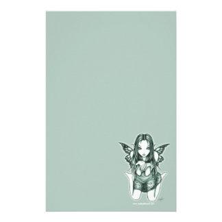 """Faith"" Kneeling Green Butterfly Fairy Stationery"