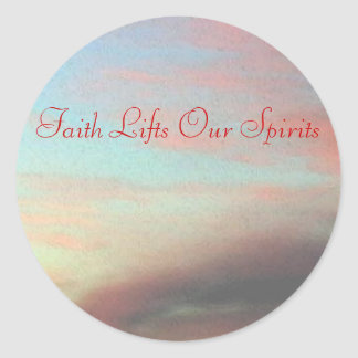 Faith Lifts Our Spirits Classic Round Sticker