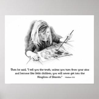 Faith Like A Child: Bible: PENCIL ART: Girl Paints Poster
