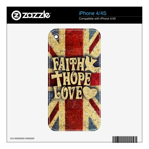 Faith, Love, and Hope distressed union jack art. Skin For iPhone 4S