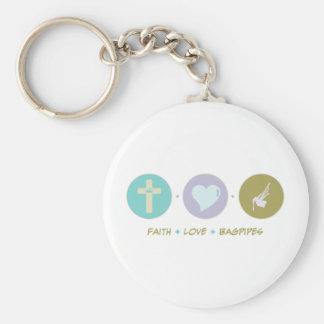 Faith Love Bagpipes Basic Round Button Keychain